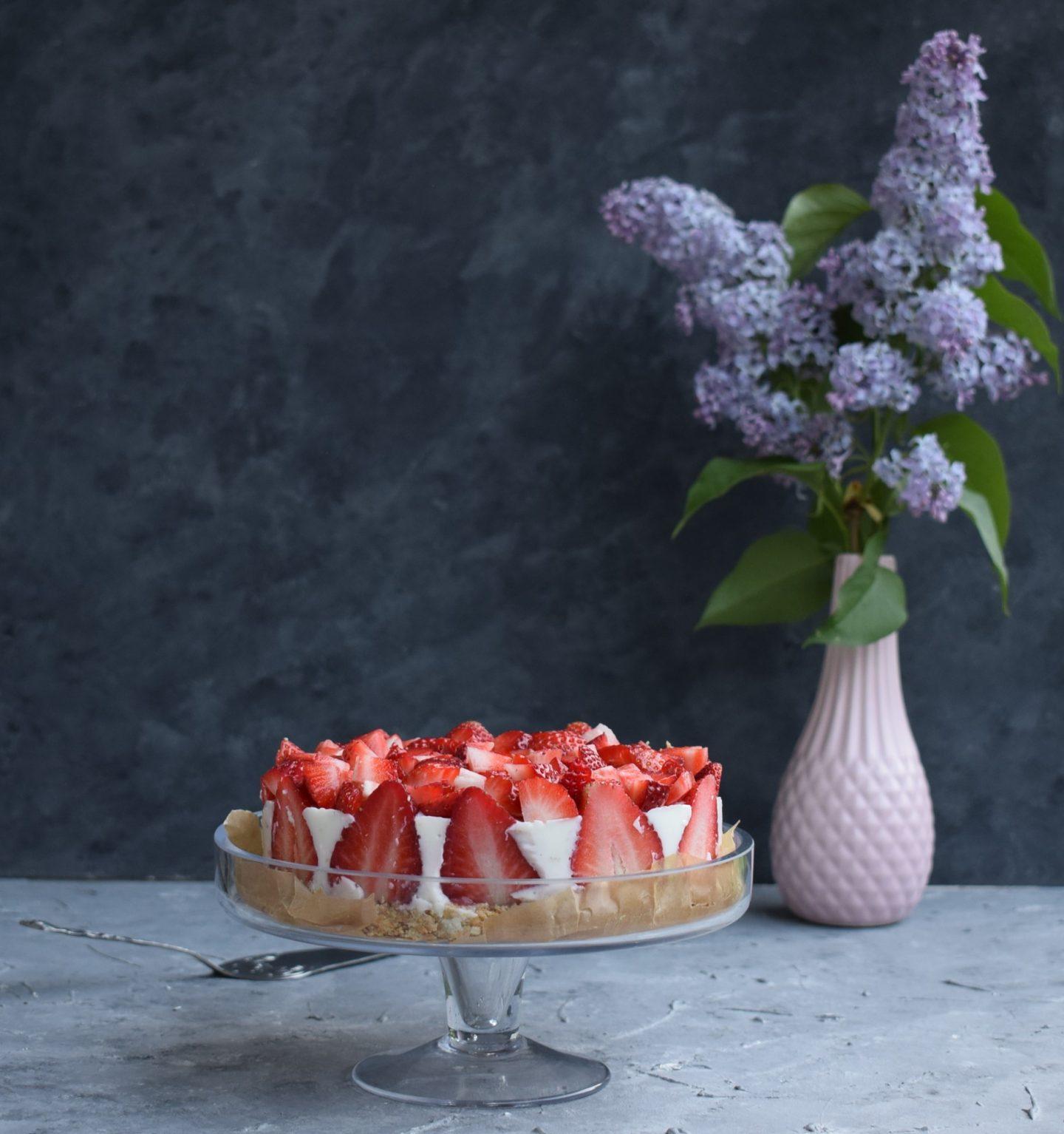 No-Bake Erdbeer-Joghurt Torte